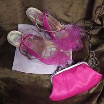 Rare Betsey Johnson Hot Pink & Gold Satin Tulle Sandals Shoes 8 Uk 5.5eu 39 Photo