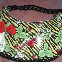 Rare Betsey Johnson Strawberry Zebra Print Laminated  Hobo Bag   Photo