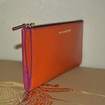 Rare Burberry Constantine London Womens Wallet Leather Orange Magenta Zip & Snap Photo