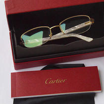 Rare Cartier Gold Glasses Clear. Pearl White N5926501 New 52-18-135 France Photo