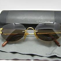 Rare Cartier Rimless Gold Plated Smokey Brown 135 Sunglasses & Case Photo