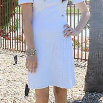Rare Chanel Dress Light Blue White Unique Woven Slender Fit  Us 2 4 Photo