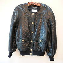 Rare Chanel Leather Bomber Jacket Size 38 -9500 Photo
