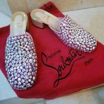 Rare Christian Louboutin Eltonetta Crystal Mules With Box & Dust Covers 1775 Photo