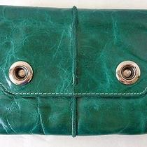 Rare Christopher Kon Modern Green Leather Silver Acccent Trifold Wallet Photo
