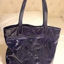 Rare Coach Audrey Navy Blue Patent Perforated Leather Tote Bag Photo