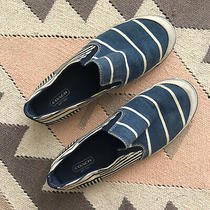 Rare Coach Blue White Striped Canvas & Leather Slip on Sneakers 8.5 Rubber Soles Photo