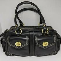 Rare Coach Classic Baseball Glove Leather Black Small Pocket Satchel Photo