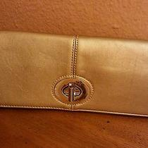 Rare Coach Clutch Gold Leather W/silver Hardware  Foldover Bag Gorgeous  Photo