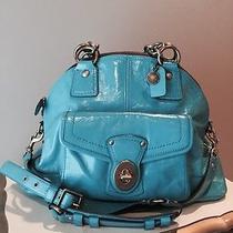 Rare Coach Francine Turquoise Patent Leather Handbag Photo