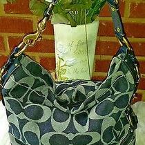 Rare Coach  Large Carly Denim Signature  Handbag -12577  Photo