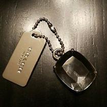 Rare Coach Large Pave Clear/silver Jewel Fob Purse Charm Pendant Photo