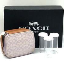 Rare Coach Lilac/tan Signature Canvas Leather Triple Pill Box Travel Case   Photo
