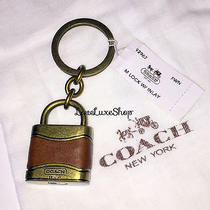 Rare Coach Mens Lock W/ Leather Inlay Brass Key Chain Ring Charm Fob Fawn Brown Photo