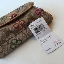 Rare Coach Poppy Peyton Clover Wallet Wristlet Cell Phone Clutch F48963 128 Photo