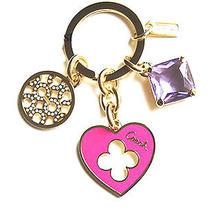 Rare Coach Purple Crystal Pave Heart Flower Clover Key Chain Ring Fob Bag Charm  Photo