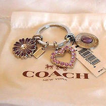 Rare Coach Purple Crystal Pave Heart Flower Keychain Key Ring Bag Charm 92330 Photo