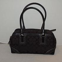 Rare Coach Signature Black Hampton Satchel Bag 10532  Photo