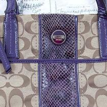 Rare Coach Signature Khaki With Purple Leather Trim Handbag Purse  Photo