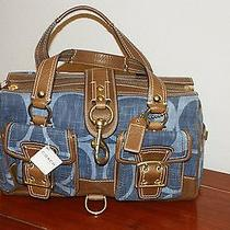 Rare Coach Signature Satchel Denim Hobo Bag10827  Photo