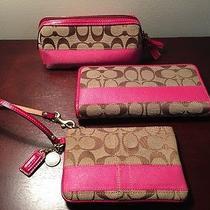 Rare Coach Signature Stripe Set in Khaki/pink 324 Retail Photo