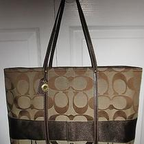 Rare Coach Xl Brown /khaki Signature Computer/ Diaper Tote 11099 Photo