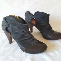 Rare Coclico Ankle Booties Wooden Heel Black Suede and Brown Leather Sz 39 Us 8 Photo