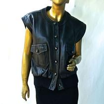 Rare  Coco Chanel Black Leather Biker Jacketcap Sleeve-Buttery Softf40 Photo