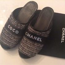 Rare Coco Chanel Grey/black Tweed/wool Clog Shoes Size 9 Photo