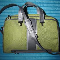 Rare Color Tumi Elements Crossbody Slim Laptop Bag Briefcase Green Grey Mac Air Photo
