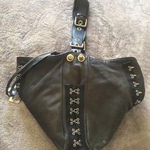 Rare Dolce Gabbana Hook & Eye Corset Black Leather Tote Shoulder Bag Vintage Photo