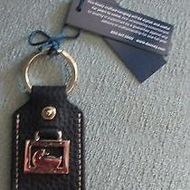 Rare Dooney &  Bourke Square Duck Black Leather Gold Tone Key Chain and Ring Htf Photo