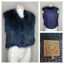 Rare Double D Ranch Raccoon Fur Blue Sweater Vest Western Boho Women's Small Photo