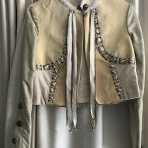 Rare Elise Overland Patchwork Creamleather Cropped Jacket Bronze Signet Buttons Photo