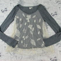 Rare Eloise Anthropologie Woodland Creatures Mesh Top Long Raglan Deer Small  Photo