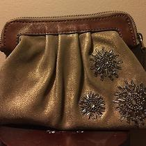 Rare Embellished Large Fossil Clutch/ Wristlet Leather/ Suede Good Shimmer Photo