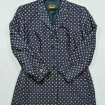 Rare Escada Neiman Marcus Silk Blazer Size 38 Navy Red 100% Silk  Photo