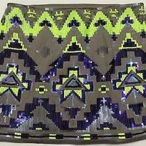 Rare Express Neon Green Retro Hip Hop Urban Pop Aztec Geo Sequin Mini Skirt Xs 0 Photo