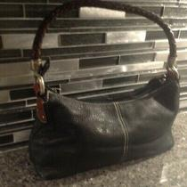 Rare Fossil 75082 Black Leather  Purse Hand Bag Between Small and Medium Photo