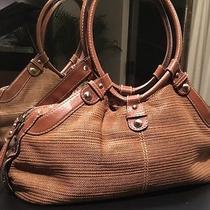 Rare Fossil Camel Brown Leather & Crochet Knitted Designer Satchel Handbag Photo