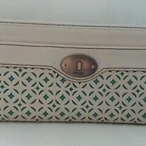 Rare Fossil Ivory/green Perforated Leather Zip Wallet/clutch 8
