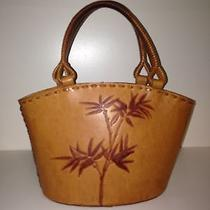 Rare Fossil Leather Bucket Handbag With Tropical Scene Etched Into Leather  Photo