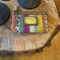 Rare Fossil Multicolored Patchwork Emory Coin Purse W/ Keyring Photo