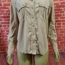 Rare Free People Size S Button Front Long Sleeve Blush Pink With Silver Accents Photo