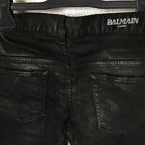 Rare & Great Balmain Ss12 Skinny Black Lacquer / Waxed Jeans T570 B363l Size 30 Photo