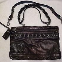 Rare Gucci Metallic Large Leather Studded Shoulder Bag Clutch Purse  Photo