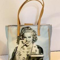 Rare Guess Blue White Pin Up Tote Purse Anna Nicole Smith Model Satchel Bag Photo