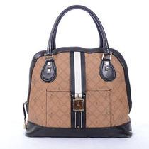 Rare Gwen Stefani l.a.m.b. Signature Stripe Black Brown Bowler Bag Purse Photo