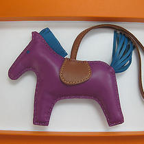 Rare Hermes Anemone Izmir Purple Rodeo Mm Grigri Horse Bag Charm Bnib Photo