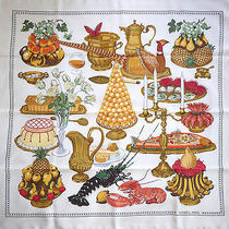 Rare Hermes Gastronomie  Silk Scarf by C. Vauzelles Excellent Photo